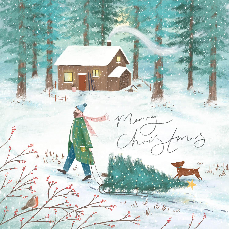 Illustration of a woodland cabin christmas scene by Imogen Davis
