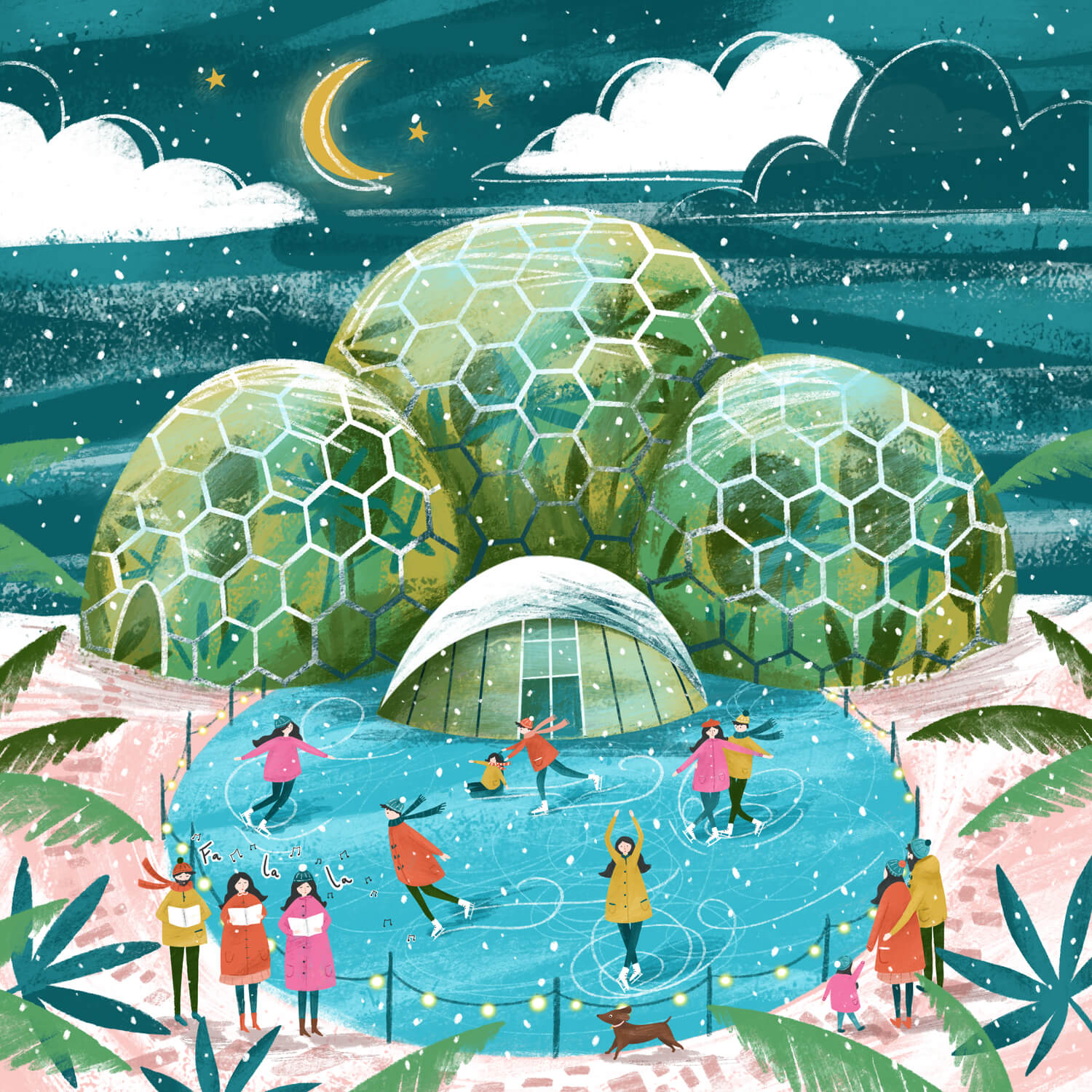 illustration of ice skaters at the eden project by Imogen Davis