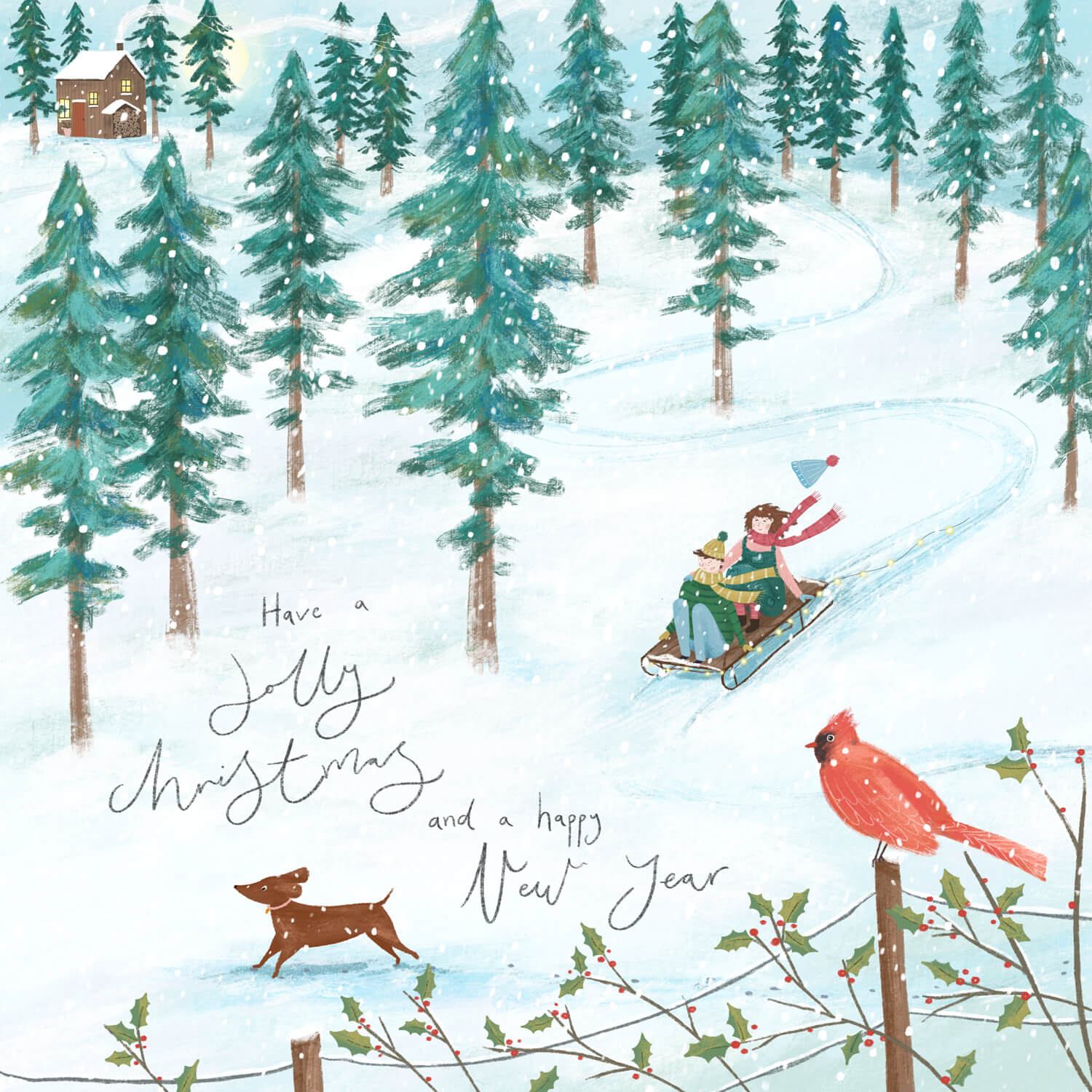 Illustration of kids on a sleigh at christmas by Imogen Davis