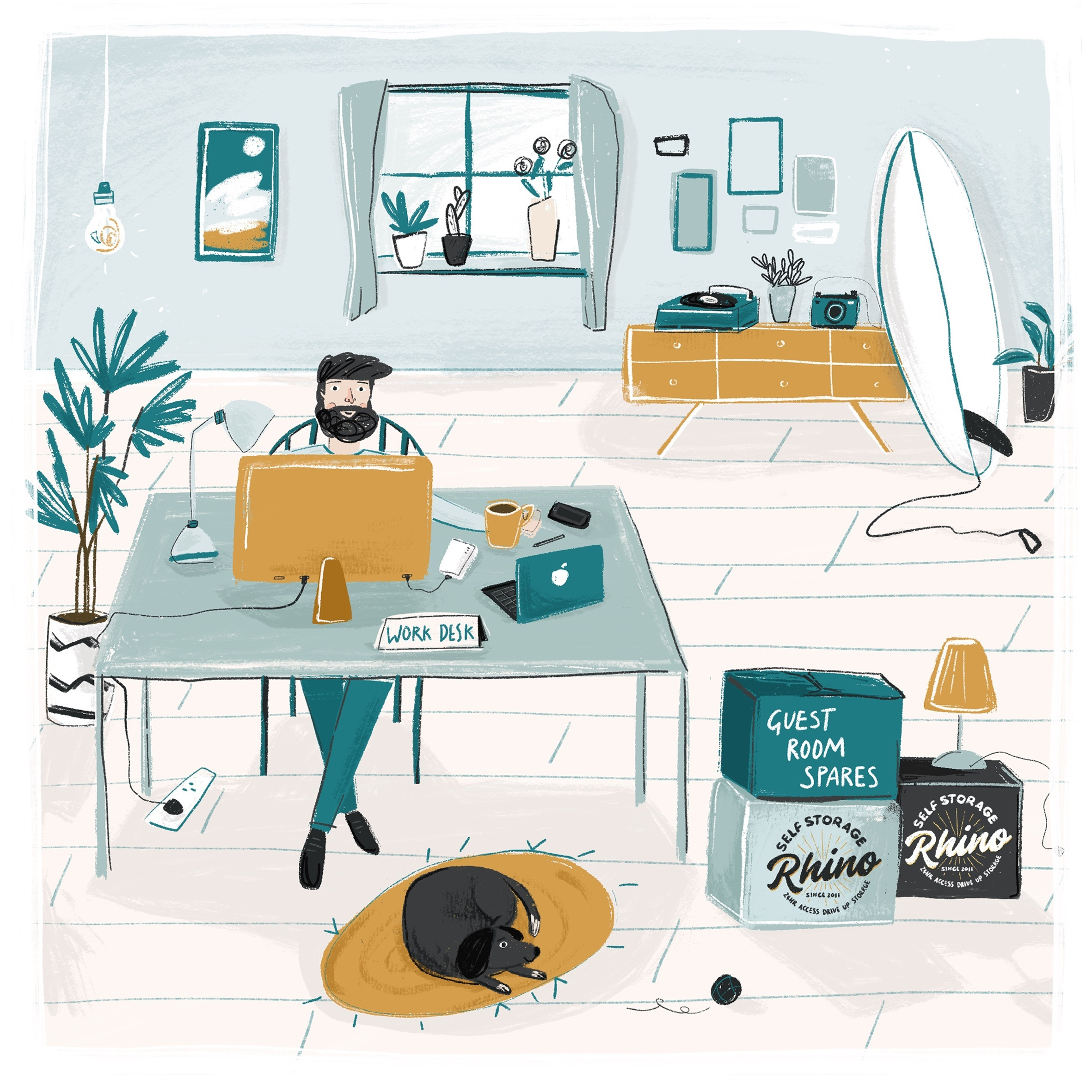 Illustration based on working from home for Southwick and Rhino Storage